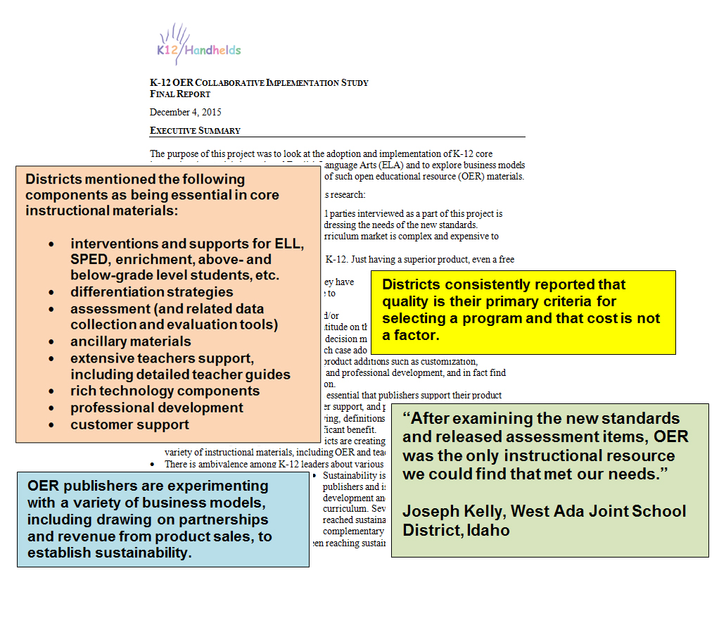 K-12 OER implementation report